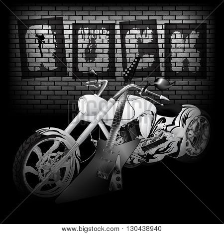 Vector illustration of motorbike and electric guitar on the background of a brick wall with the word rock. Image in black and white perfectly aligned with any image on a black background there is a place for text or image.