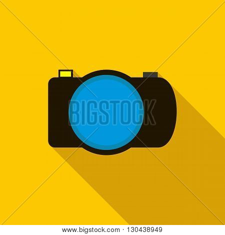 Photo camera icon in flat style on yellow background