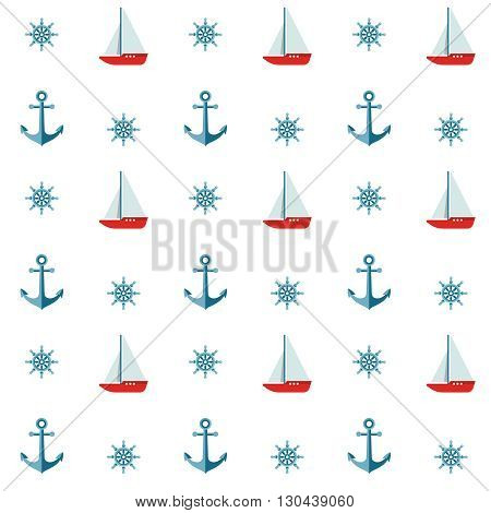 Seamless background pattern with colored anchors helms and sailboats on white background vector illustration