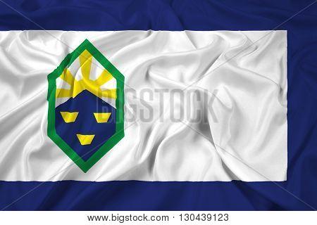 Waving Flag of Colorado Springs Colorado, with beautiful satin background