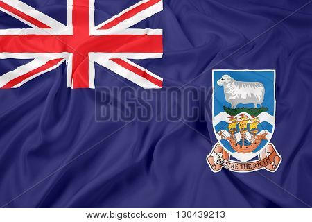 Waving Flag of Falkland Islands, with beautiful satin background