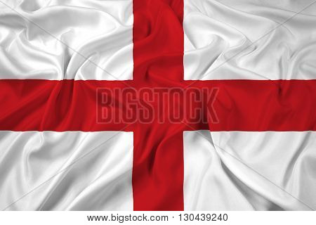 Waving Flag of Genoa, with beautiful satin background