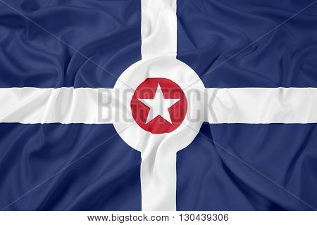 Waving Flag of Indianapolis Indiana, with beautiful satin background