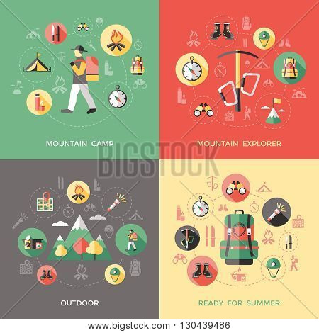 Mountain climbing concept with natural landscape camp explorer  backpack compass thermos knifes binoculars helmet isolated vector illustration