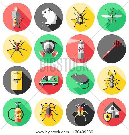 Pest control flat icons set with house worker insecticide trap rodent ant mosquito spider isolated vector illustration