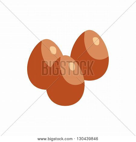Three eggs  icon in cartoon style on a white background