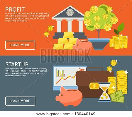 Two horizontal investment banner set with buttons and descriptions of profit and startup vector illustration