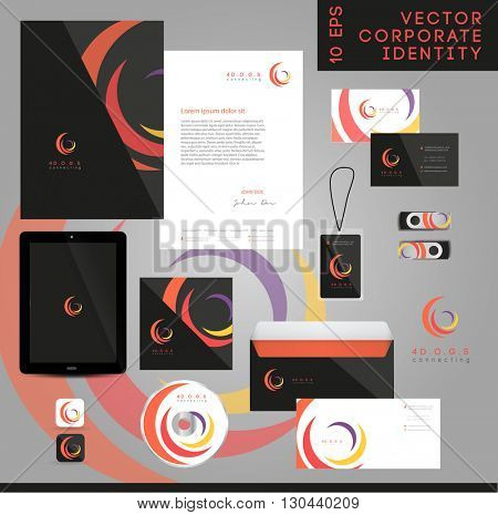 VECTOR ABSTRACT WHIRL LOGO / ICON , CORPORATE IDENTITY PACK .