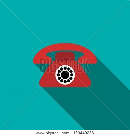Red retro telephone icon in flat style on a blue background
