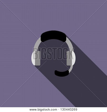 Headphone for support icon in flat style on a violet background