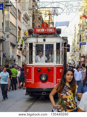 Istanbul Turkey - September 9 2012: the former tram on Istiklal Street in Istanbul Taksim-Tunel carry passengers.