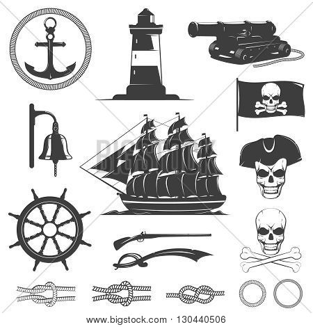 Pirates decorative vintage graphic icons set with sea knots skulls bones flag gun lighthouse isolated vector illustration