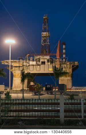 Oil platform in the harbor of Santa Cruz de Tenerife in Spain.