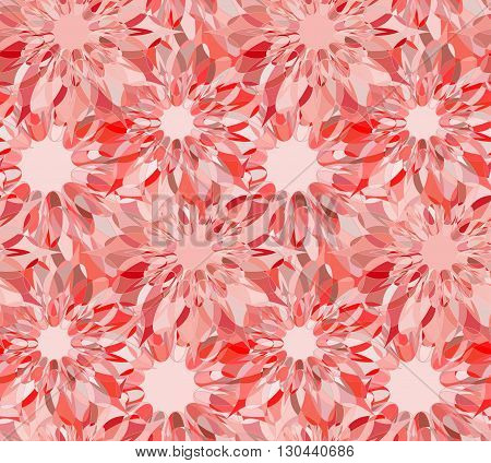 Seamless floral pattern with red guilloche flowers. Ruby crystal seamless guilloche pattern or background. Vector illustration