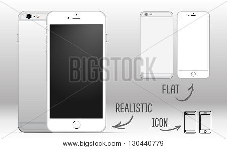 Set of white mobile smartphone with blank screen isolated on white background, side by side. Realistic, Flat and icons styles
