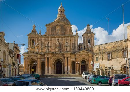 Marsaxlokk Malta - 02 May 2016: Parish Church dedicated to St. Nicholas of Bari. Marsaxlokk Malta.