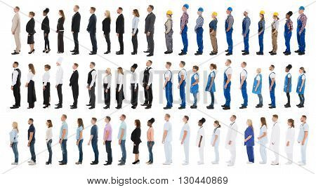 Collage Of People With Different Occupations Standing In Line Against White Background
