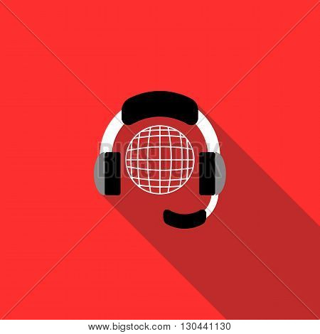 Globe with headset icon in flat style on a red background