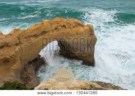 Closeup of the Arch, formation drilled out of limestone rock by wave from the Great Southern Ocean at Port Campbell National Park, south-western district of Victoria, Australia