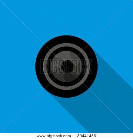 Camera aperture icon in flat style on a blue background