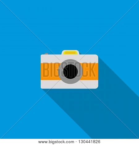 Camera icon in flat style on a blue background