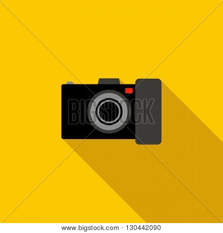 Black camera icon in flat style on a yellow background
