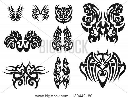Tribal tattoo pack illustration.  illustration without transparency. Black tattoo. Set of tribal tattoo. Line tribal tattoo.