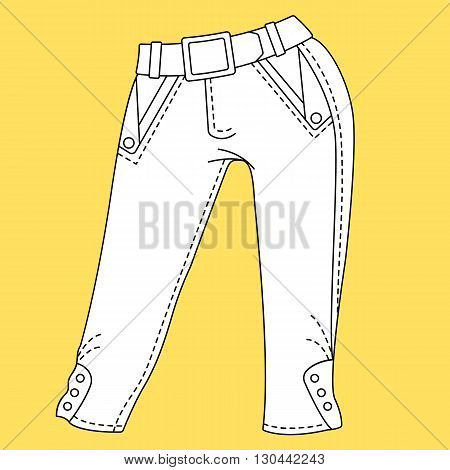 Jeans. Trousers pants. Fashion Illustration. Technical Drawing. Specification Drawing