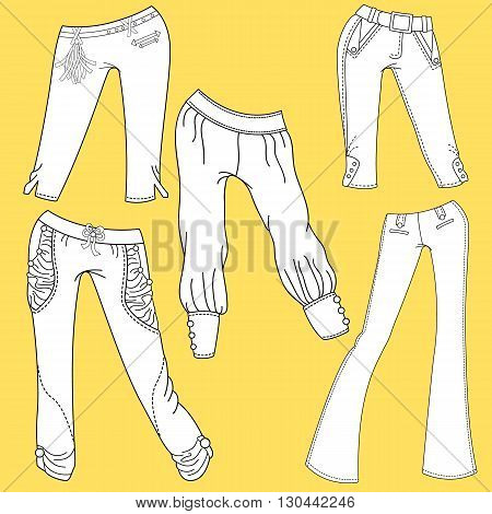Flat template sketches of different denim and jeans clothes. Set of denim clothes