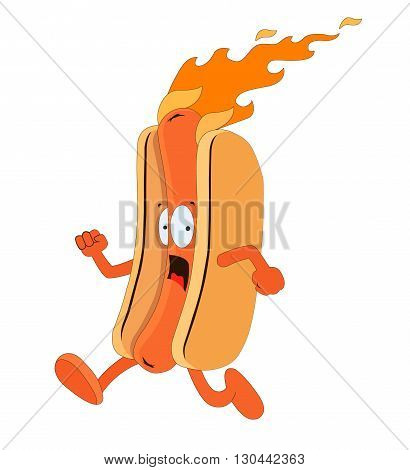 Funny hot dog illustration. illustration without transparency.