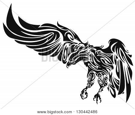Tattoo of an eagle. Tattoo illustration. Illustration of an eagle