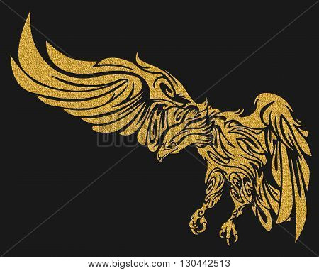 Gold eagle tattoo illustration. illustration without transparency. Gold tattoo. Line tribal tattoo.