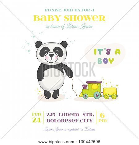 Baby Shower or Arrival Card - Baby Panda with Train Toy- in vector