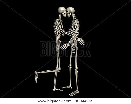 Skeleton couple kissing