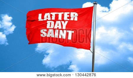 latter day saint, 3D rendering, a red waving flag