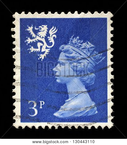 ZAGREB, CROATIA - SEPTEMBER 18: A Scottish Used Postage Stamp showing Portrait of Queen Elizabeth 2nd, circa 1958 to 1970, on September 18, 2014, Zagreb, Croatia