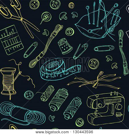 Sewing and Knitting tools seamless pattern. Isolated vector illustration for identity, design, decoration, packages product and interior decoration