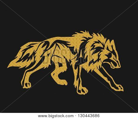 Gold tribal tattoo illustration. wolf designs illustration