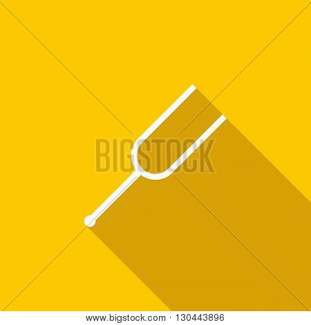 Tuning fork icon in flat style on a yellow background
