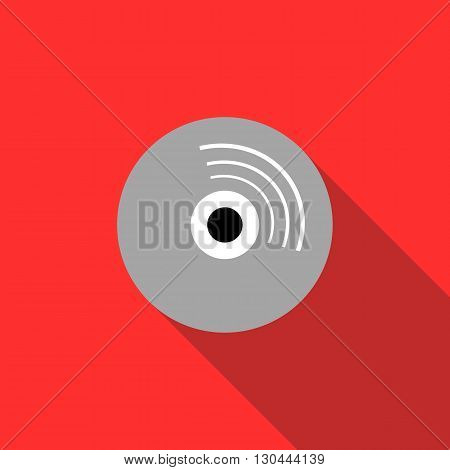 Blank CD icon in flat style on a red background