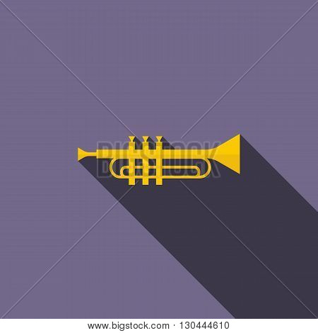 Brass trumpet icon in flat style on a violet background