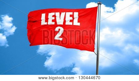level 2, 3D rendering, a red waving flag