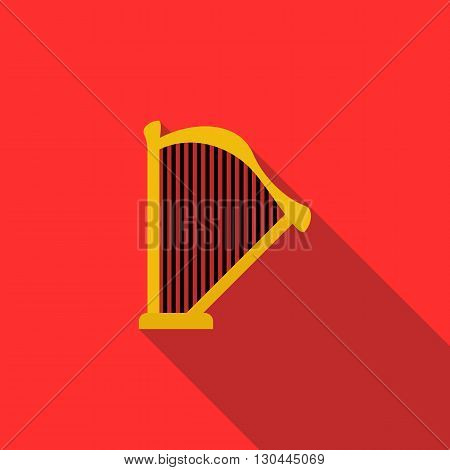 Harp icon in flat style on a red background