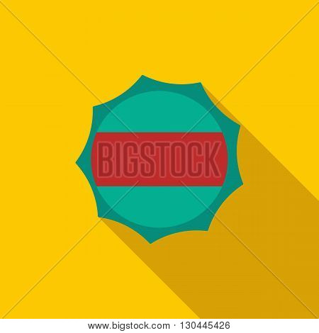 Beer label icon in flat style with long shadow