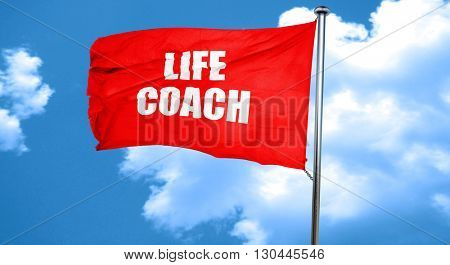 life coach, 3D rendering, a red waving flag