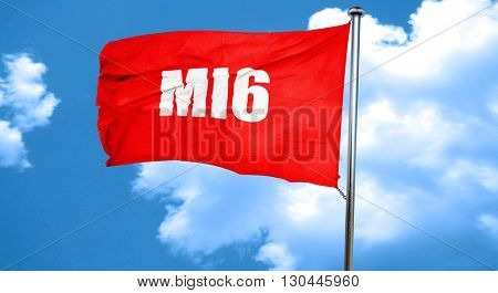 mi6 secret service, 3D rendering, a red waving flag