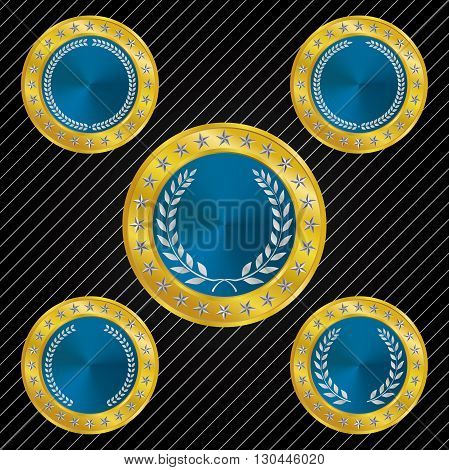 Different styles of medallion and medal with Metallic Blue tones