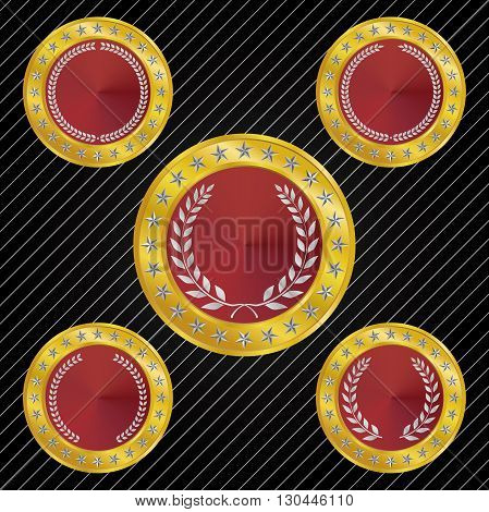 Different styles of medallion and medal with Metallic Red tones