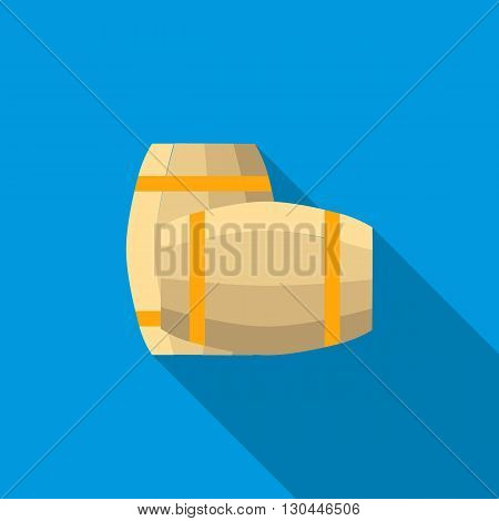 Set of wooden barrels icon in flat style with long shadow