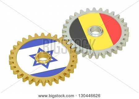 Israeli and Belgian flags on a gears 3D rendering isolated on white background